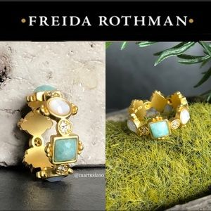 Freida Rothman Blue Geometric Ring Sz 6